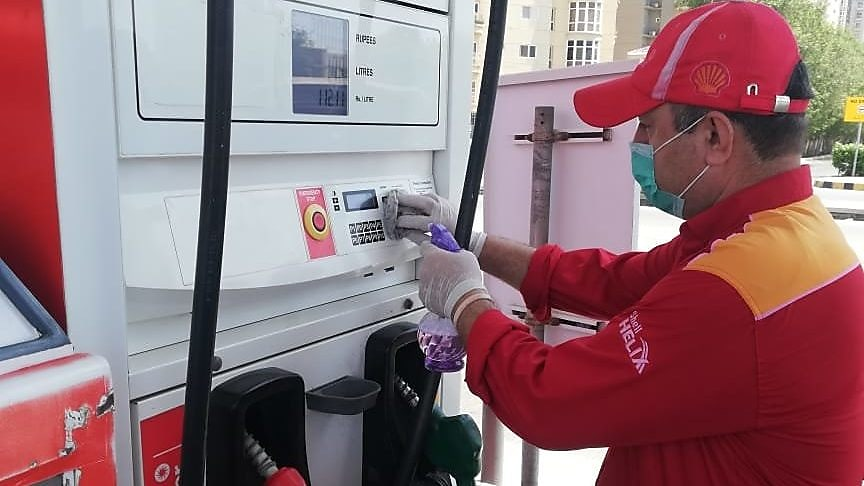 Sanitation and disinfection of fuel dispenser