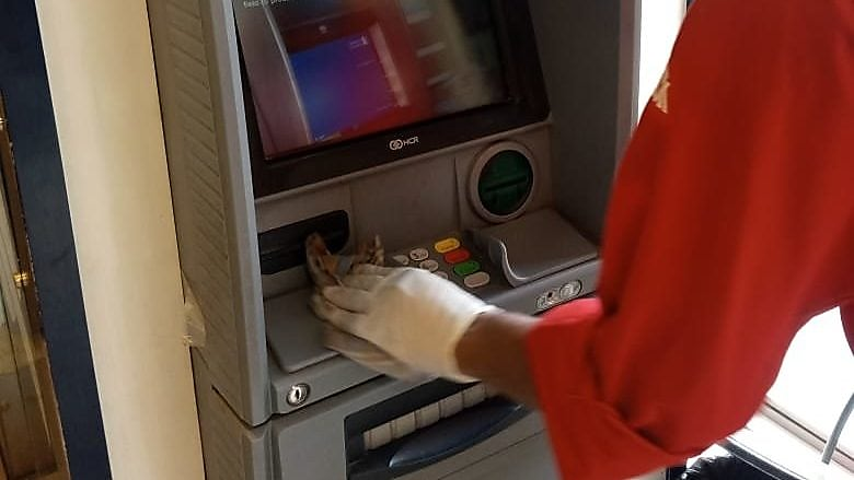 Sanitation and disinfection of ATM machine