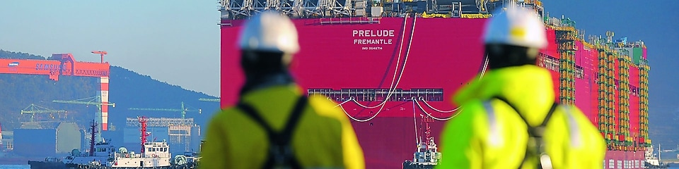 Prelude's maiden voyage: the facility's enormous hull takes to the water for the first time