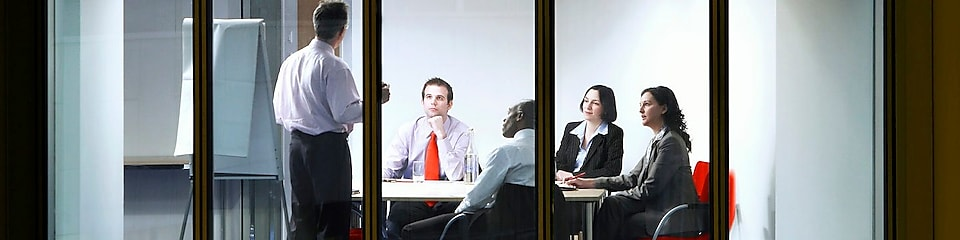 Office workers in a meeting room
