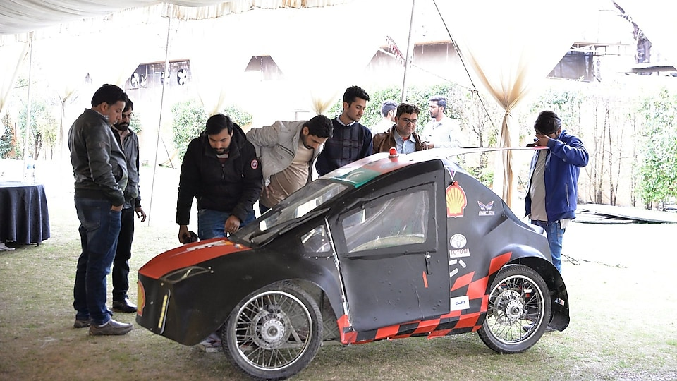Students checking their prototype car