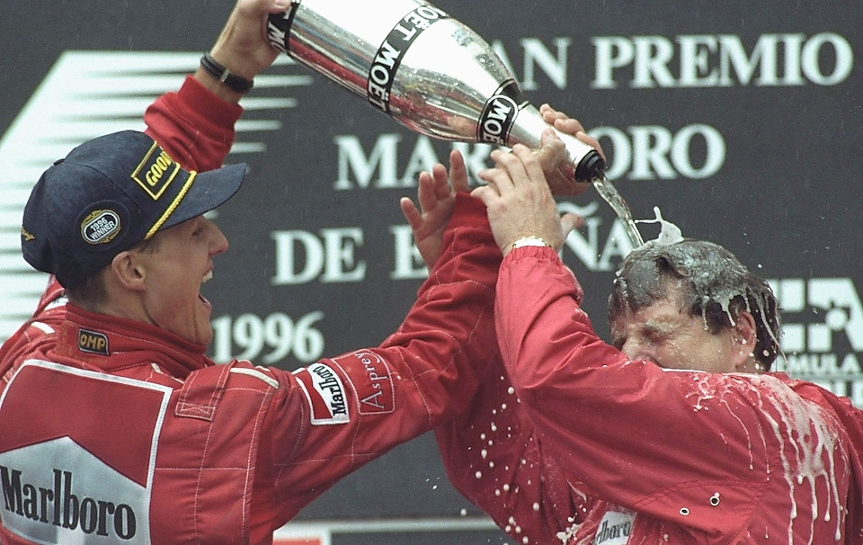 Michael Schumacher celebrating victory