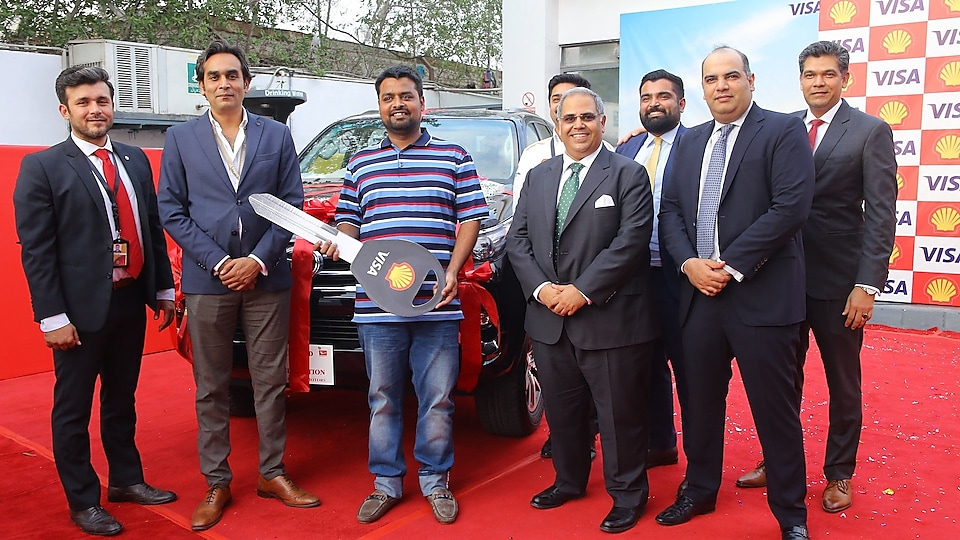 Muhammad Waqas Khan receives the Toyota Fortuner SUV