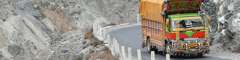 truck driver driving on empty road